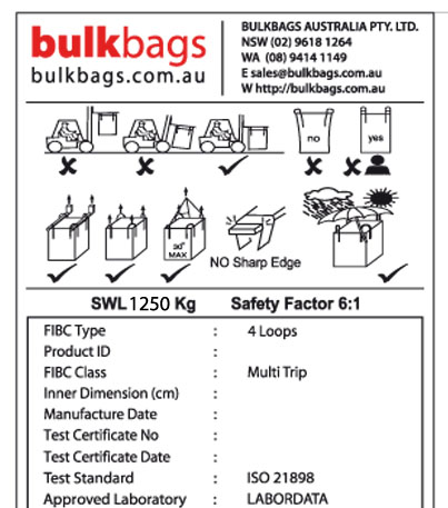 Each bulk bag comes with safety label attached to the bag
