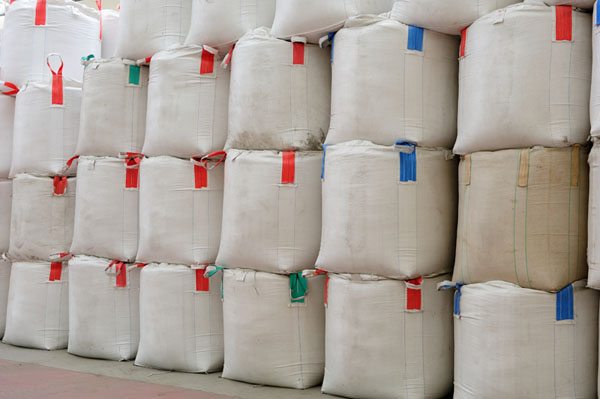 two layers stored bulk bags